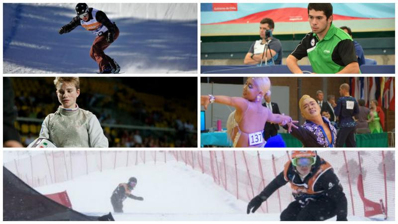 Collage of five athlete photos