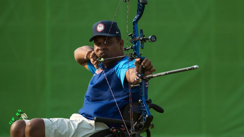 Andre Shelby USA competes in the Men's Archery Individual Compound Open 1/8 Elimination Round against Nathan MacQueen GBR at Sambodromo