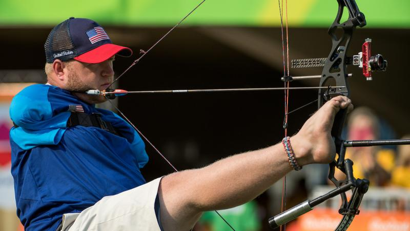Matt Stutzman USA competes in the Men's Archery Individual Compound Open 1/8 Elimination Round against Andrey Muniz de Castro BRA at Sambodromo.