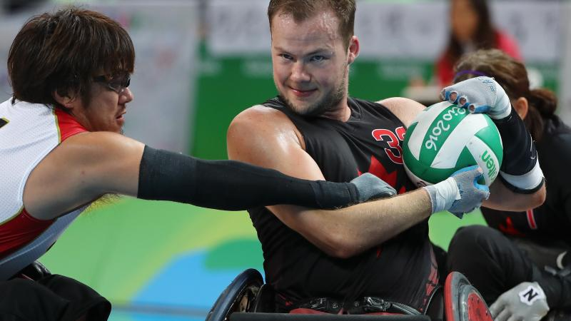 Zak Madell of Canada in action during the Men's Wheelchair Rugby Bronze Medal match against Japan