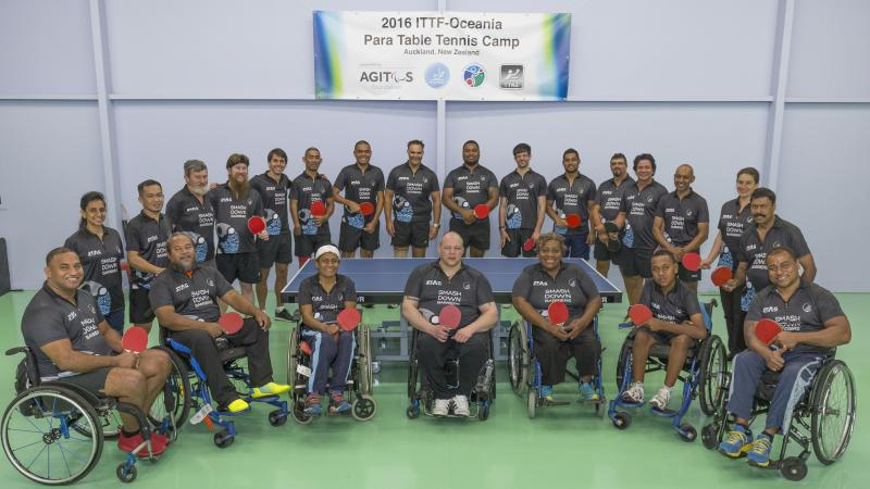 Participants of Para table tennis camp pose for the photo.