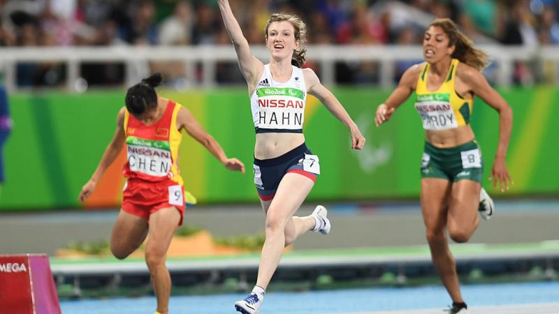 Sophie Hahn of Great Britain celebrates after winning the women's 100 meter T38 on day 2 of the Rio 2016 Paralympic Games