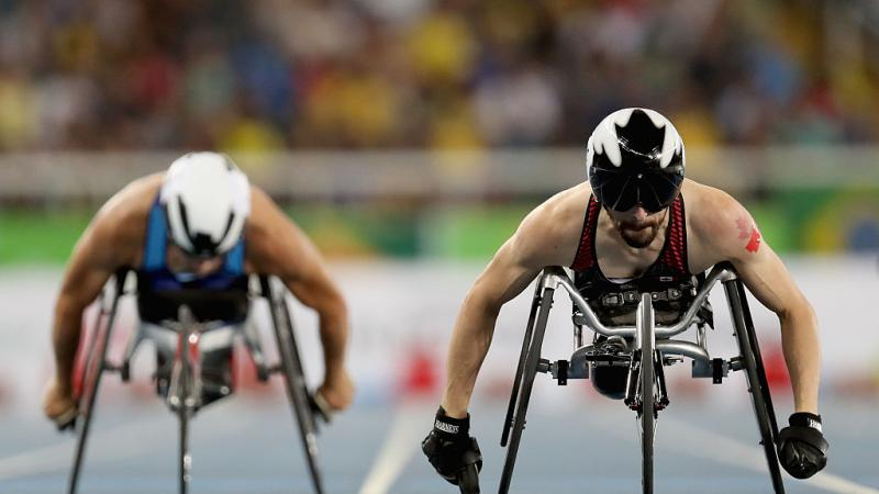 Brent Lakatos of Canada competes in the men's 400 meter T53 at Olympic Stadium during day 3 of the Rio 2016 Paralympic Games