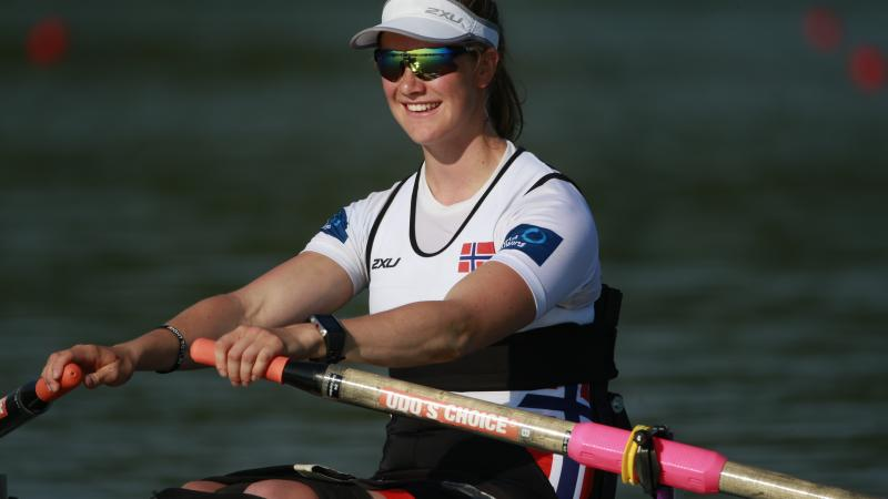 Norway's Birgit Skarstein, AS Women's Single Sculls heat, 2015 World Rowing Cup II Varese, Italy