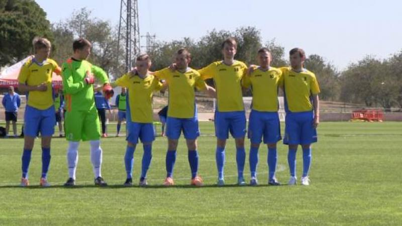 The Ukrainian Football 7-a-side team at the Cerebral Palsy Football (IFCPF) Pre-Paralympic Tournament in Salou, Spain.