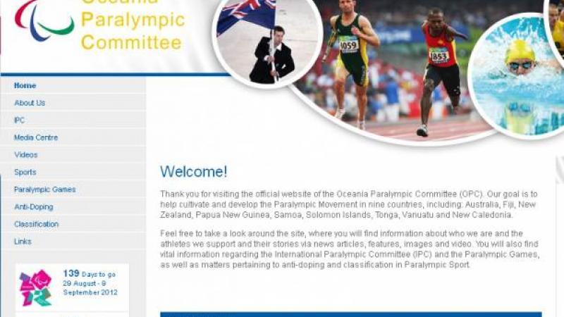 Oceania Paralympic Committee Website's screenshot