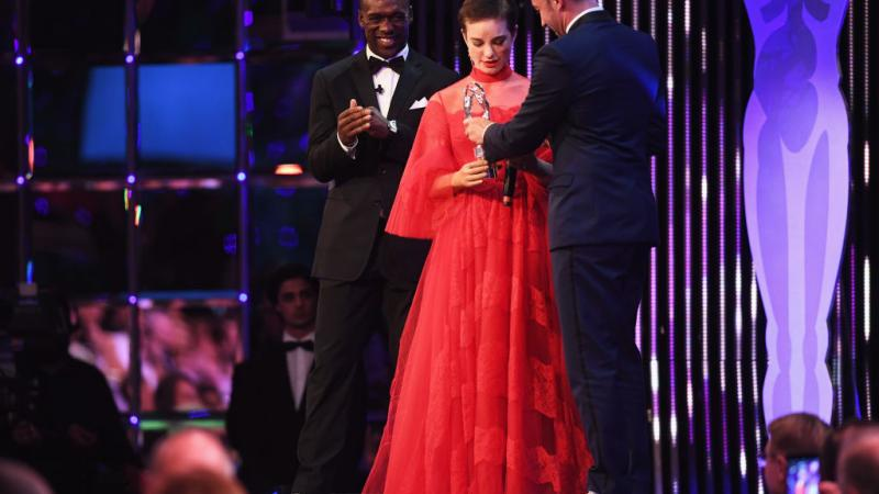 Laureus Academy member Alessandro Del Piero hands the Laureus World Sportsperson of the Year with a Disability Award to winner Fencer Beatrice Vio of Italy during the 2017 Laureus World Sports Awards.
