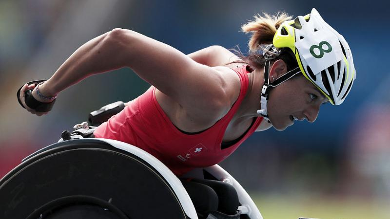 Manuela Schaer of Switzerland competes in the 800 meter - T54 Round 1 at the Rio 2016 Paralympic Games.