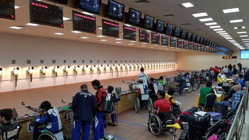 Para sport shooters take aim on the rifle range