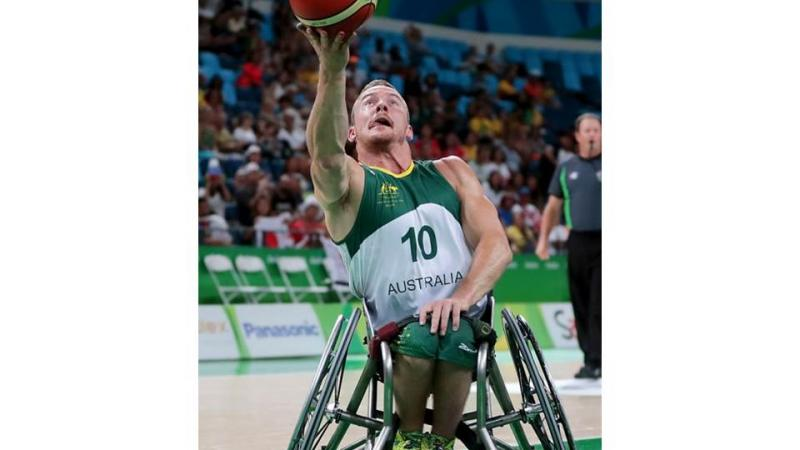 Jannik Blair of Australia in action during Men's Wheelchair Basketball match between Australia and Japan at the Rio 2016 Paralympic Games.
