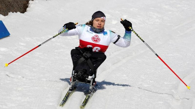 Anja Wicker competes at the Para Nordic skiing World Cup in PyeongChang, South Korea.
