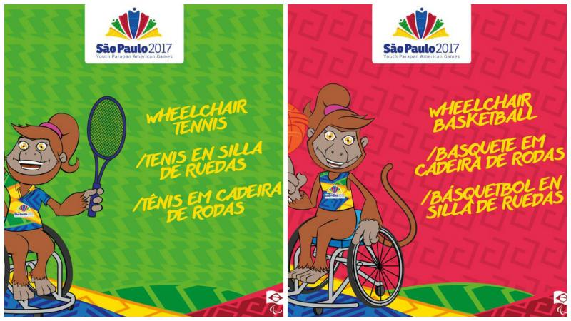 Two cartoons with a monkey mascot showcasing wheelchair tennis and wheelchair basketball