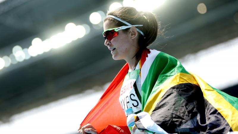 South Africa's Ilse Hayes celebrates wining silver in the 400m T13 final at Rio 2016.