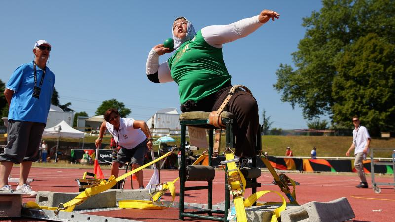 Algeria's Nadia Medjmedj throws in the women's shot put F55/56/57 at the 2013 IPC Athletics World Championships in Lyon, France.