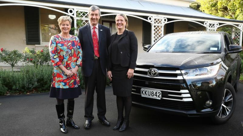 Kereyn Smith, CEO of the New Zealand Olympic Committee, Alistair Davis, CEO of Toyota New Zealand and Fiona Allan, CEO of Paralympics New Zealand.