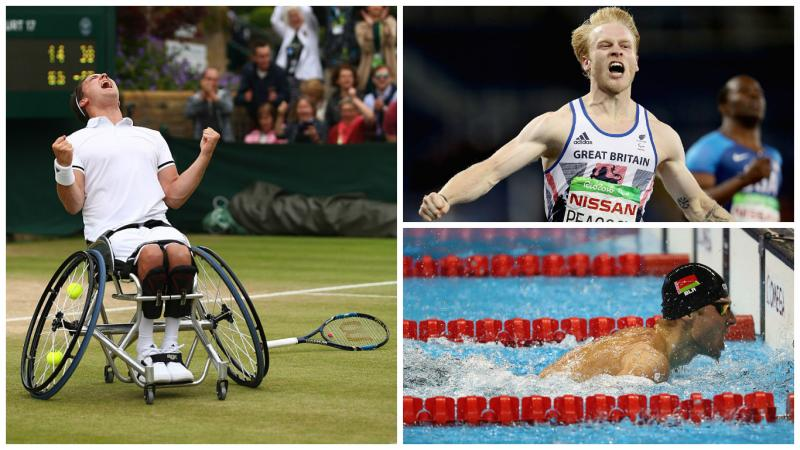 a man celebrates in a wheelchair, a runner celebrates crossing the line, a swimmer touches the wall
