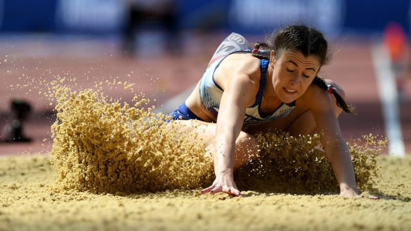 Woman during long jump