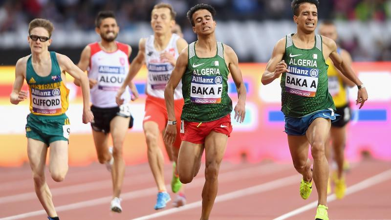 Fouad Baka of Algeria (L/Silver) and Abdellatif Baka of Algeria (R/Gold) cross the line to win their respective medals in the men's 1500m T13 final at London 2017.