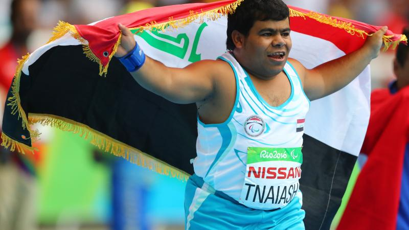 Garrah Tnaiash of Iraq celebrates after winning in men's shot put F40 at London 2017.