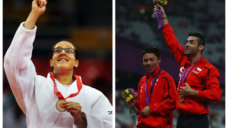 two para athletes celebrate with their gold medals on the podium