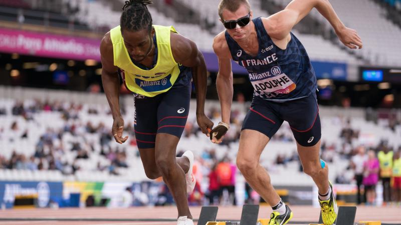 France's T11 sprrinter Timothee Adolphe competing at the World Para Athletics Championships London 2017.