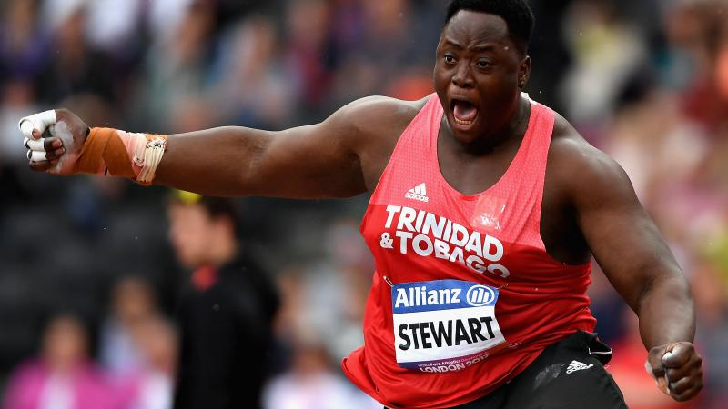 Akeem Stewart of Trinidad and Tobago lets out a roar after smashing the shot put F43 world record.
