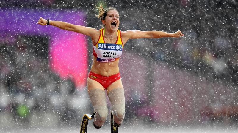 Spain's Sara Andres Barrio celebrates after winning bronze in the women's 200m T44 at London 2017.