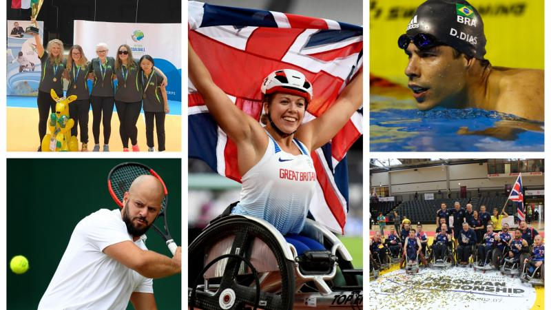 a group of para athletes celebrate their victories