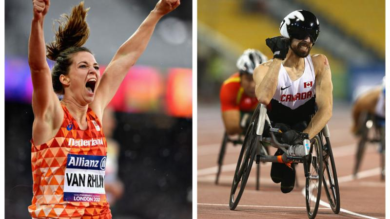 two Para athletes celebrate winning races