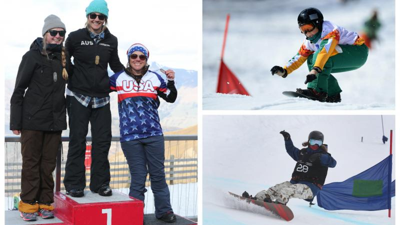 three male and three female Para snowboarders stand on the podium