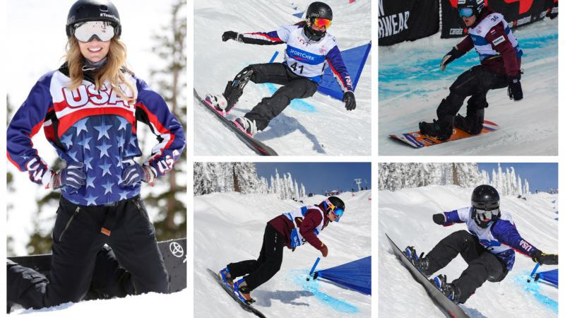 five Para snowboarders on the slopes