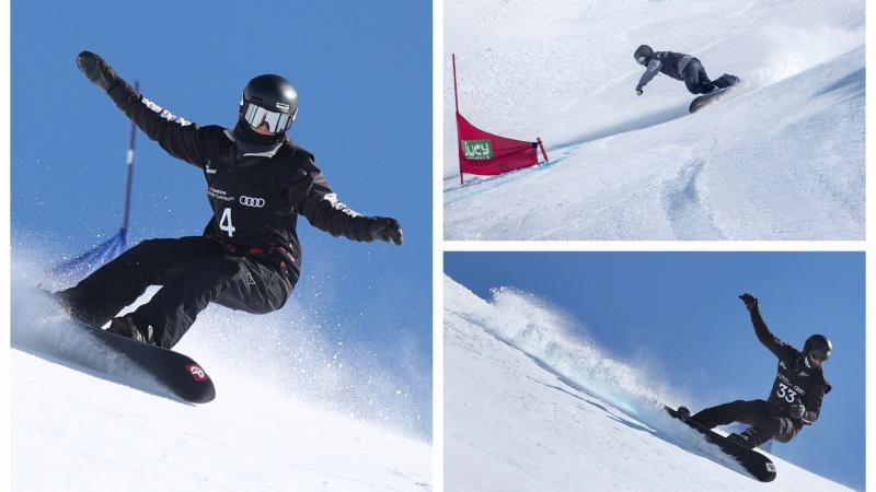 three Para snowboarders ride down a banked slalom course