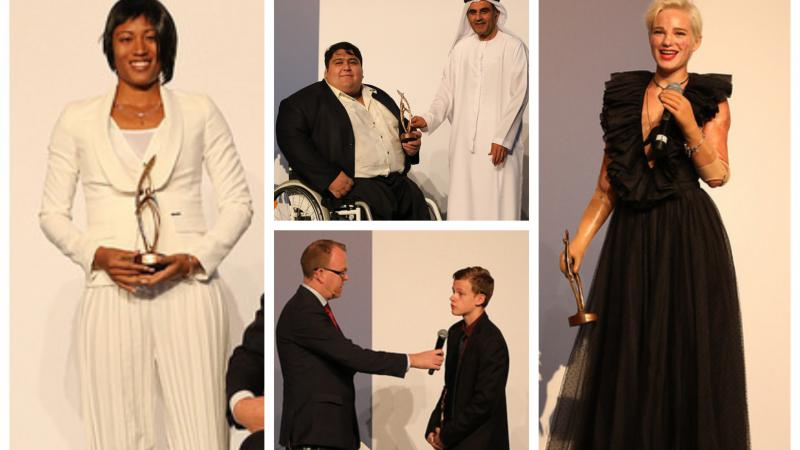 Para athletes receive their awards on stage