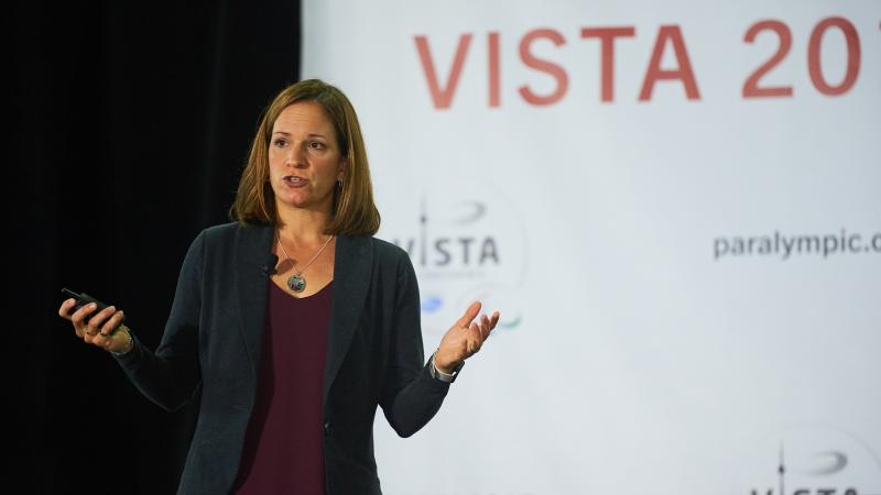 Dr. Laura Misener delivers her keynote address on the final day of VISTA 2017 in Toronto, Canada.