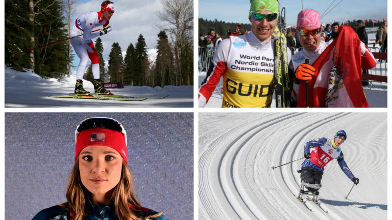 two male and two female Para Nordic skiers