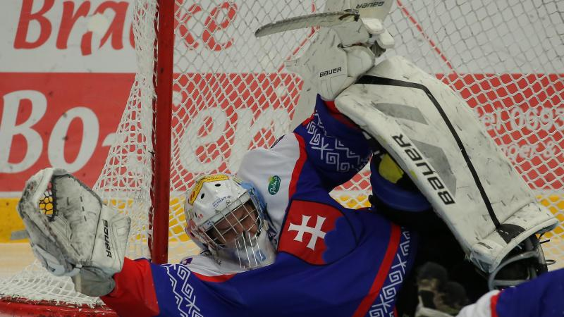 a Para ice hockey goalie saves a shot