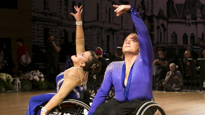 Two dancers in a wheelchair performing