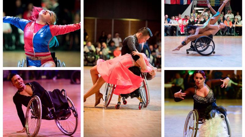 Para dance sport athletes perform on the dancefloor