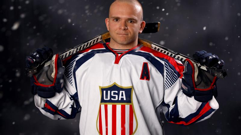a male Para ice hockey player
