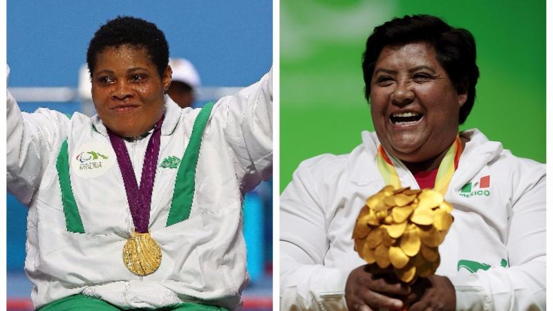 two female Para powerlifters celebrate with their medals