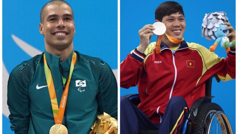 two male Para swimmers smile on the podium