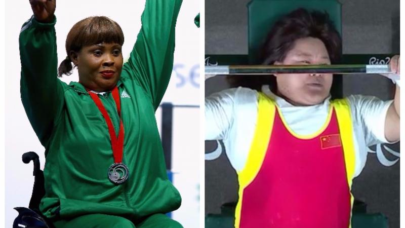 Two female Para powerlifters