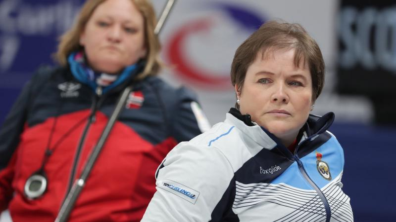a female wheelchair curling player