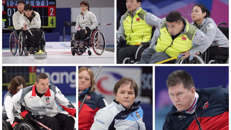 wheelchair curlers competing at their sports