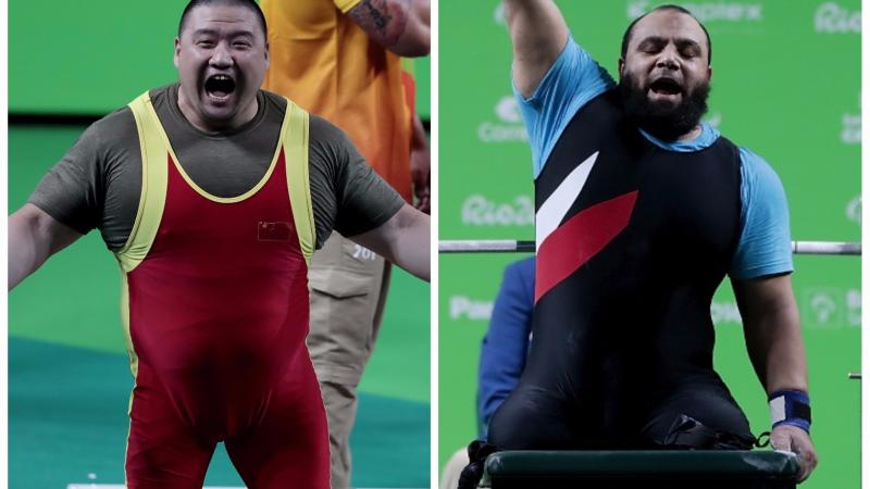 two male Para powerlifters on the bench