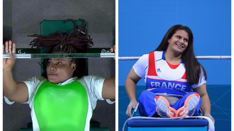two female Para powerlifters on the bench