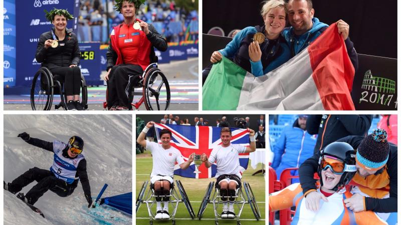 Para athletes celebrating wins in marathon, fencing, wheelchair tennis, snowboard and alpine skiing