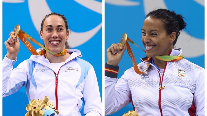 two female Para swimmers hold up their gold medals