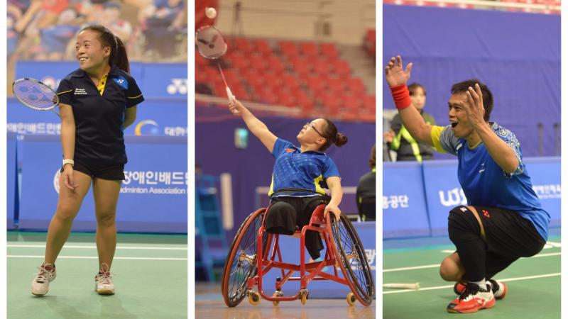 three Para badminton players celebrate on the court