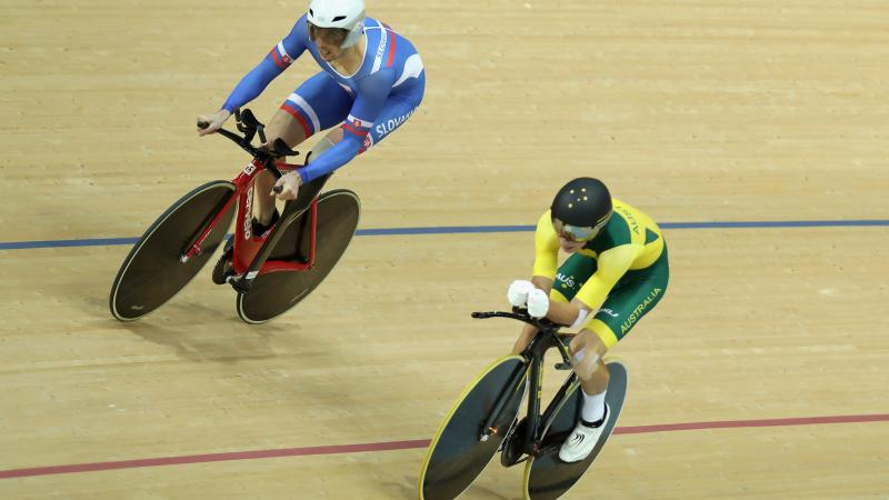 Australia's Kyle Bridgewood goes head-to-head with Slovakia's Jozef Metelka at the Rio 2016 Paralympic Games.